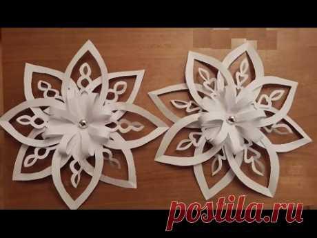 Объемная 3D снежинка из бумаги. 3D Paper Snowflake