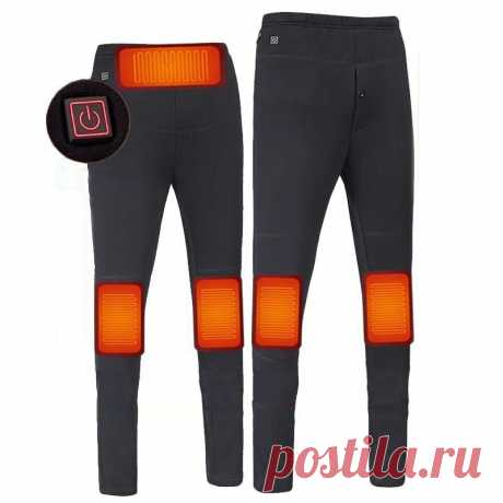 Tengoo 3-gears control electric heated warm pants men women usb heating base layer elastic long johns insulated heated trousers for camping hiking Sale - Banggood.com