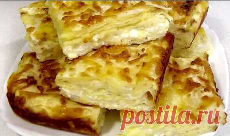 "Пирог ""Лентяй с сыром"" за 7 минут"