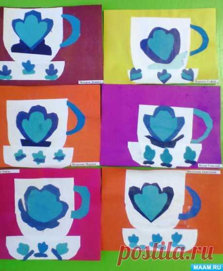 Мастер-класспо аппликации с элементами узора гжельской росписи «Чашка с блюдцем» (старшая группа). Воспитателям детских садов, школьным учителям и педагогам - Маам.ру