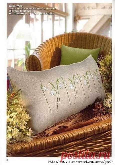 Нежные ландыши Вышивка на подушке #идеи@rukodelz