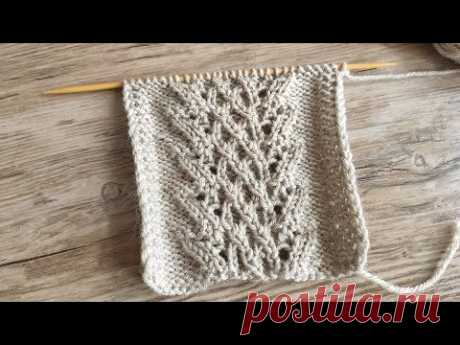 Ажурный центральный узор спицами 🦉 Lace central knitting pattern