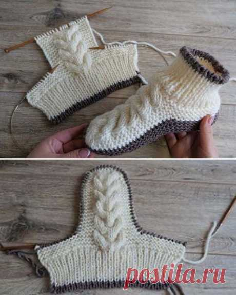 Wool Cable Slippers - Free Knitting Pattern - Tricot et crochet - Water
