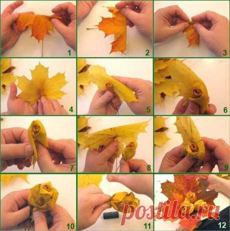 """10 ярких идей осенних поделок из... листьев!    1. Венок. Например из листьев клена. 2. Аппликация. Можно создать самые невероятные образы.  3. Аппликация с цветной бумагой, листья дополняют и декорируют рисунок  4. Аппликация из резаных листьев. Получается объем.  5. """"Следы"""" от листьев. Обмакиваем листики в краску.  6. Деревья. Используем тубы от бумаги, клей, краску.  7. Не только аппликации, но и целые картины из листьев!  8. """"Розы"""" из листьев. 9. Рисуем НА листьях  10. Вырезаем ИЗ листьев."""