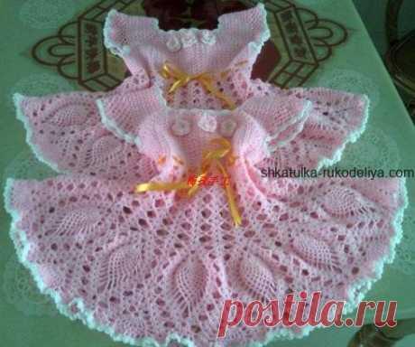 Розовое платье для малышки Розовое платье для малышки крючком. Летнее детское платье для девочки 3-4 лет