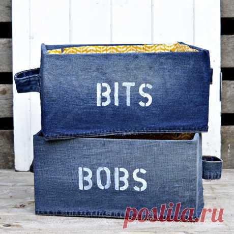 Коробка для хранения DIY с использованием джинсовой ткани (Ikea Pingla Hack) - Pillar Box Blue