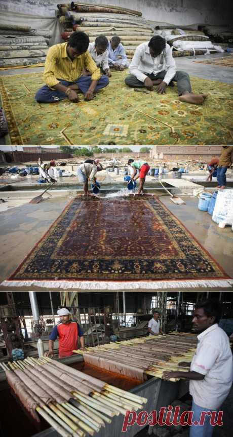 Как делают ковры в Индии.