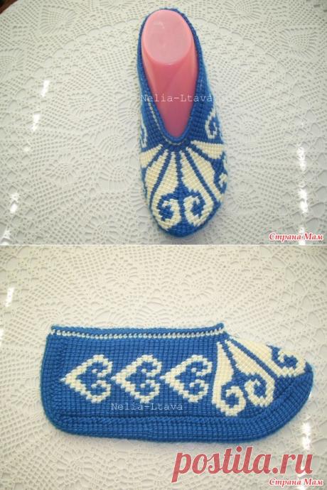 Онлайн, тапочки тунисской техникой вязания крючком - Страна Мам