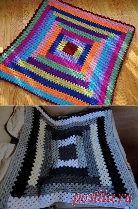 Красивый коврик на основе бабушкиного квадрата