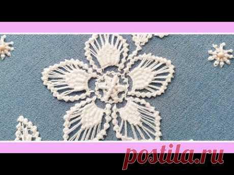 Embroidery macrame Romanian * flower's petal & leaf filling * #malina_gm - YouTube