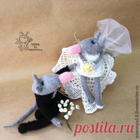 Крыски молодожены - серый,вязание спицами,вязаная игрушка,авторская игрушка