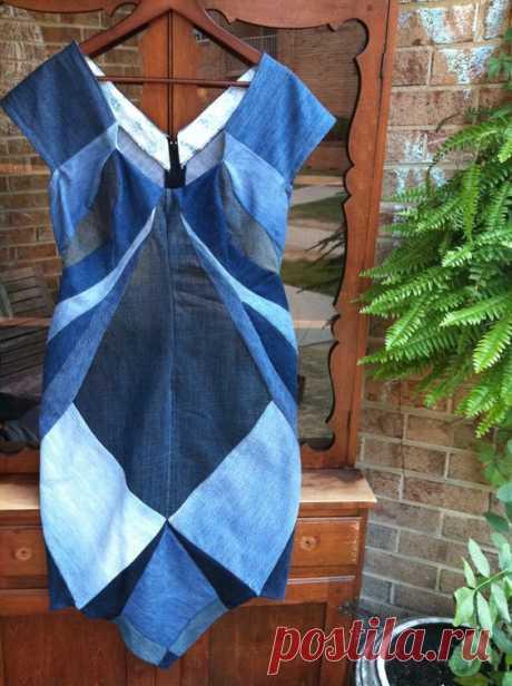Джинсовый пэчворк - часть вторая (трафик) Модная одежда и дизайн интерьера своими руками