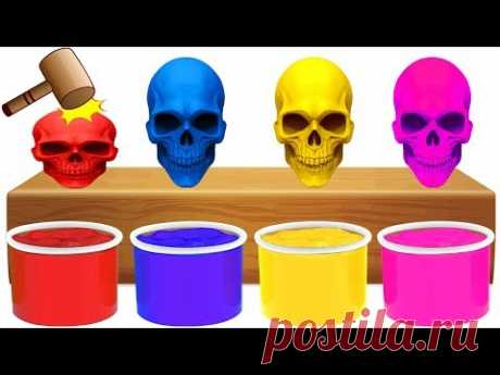 Learn Colors With WOODEN FACE HAMMER FUNNY BAD SKELETON COLOR SURPRISES For Kids Toddler Video