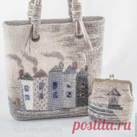 Купить Валяная сумка-корзинка Есть такой Город ... - сумка, валяная сумка, домики, архитектура, нунофелтинг