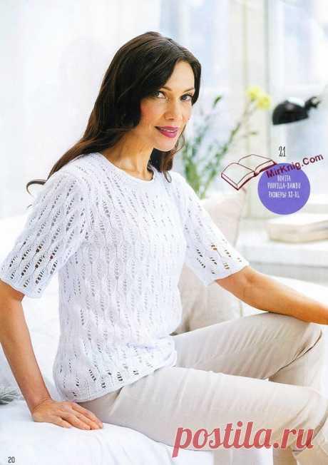 Белый ажурный пуловер с короткими рукавами