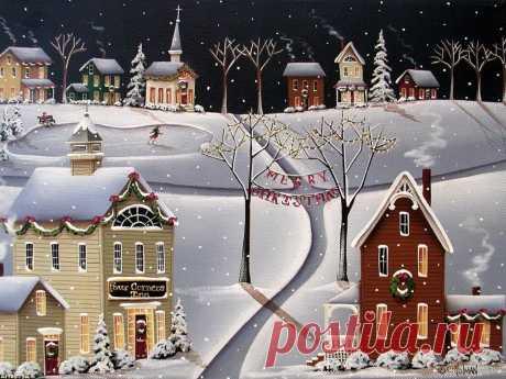 Обои Праздники Catherine Holman, Рождество, Christmas, деревня, гирлянды на рабочий стол 1024x768