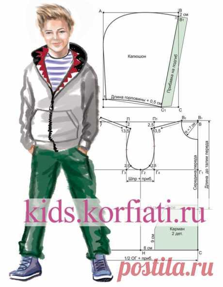 Выкройка худи для мальчика от Анастасии Корфиати