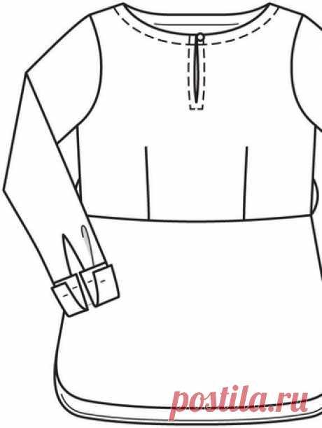 Блуза с вырезом горловины лодочкой - выкройка № 128 из журнала 10/2015 Burda – выкройки блузок на Burdastyle.ru