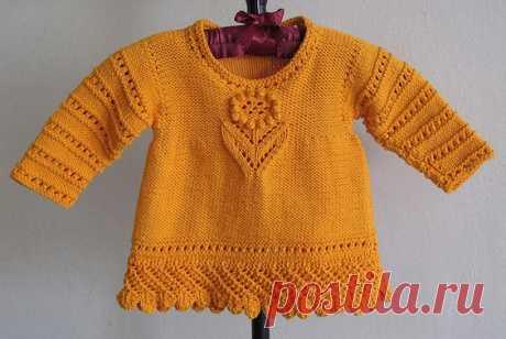"""Ажурный свитер для девочки """"Нежный цветочек"""" из категории Интересные идеи – Вязаные идеи, идеи для вязания"""
