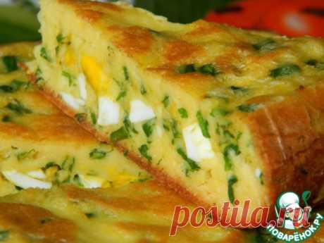 ¡El pastel con los huevos y el cebollino - el pastel sin alboroto - hasta la locura es sabroso!