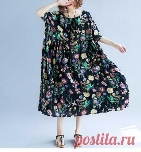Women Summer Dress Plus Size Print Floral Femme Lady Elegant Vintage V - idetsnkf