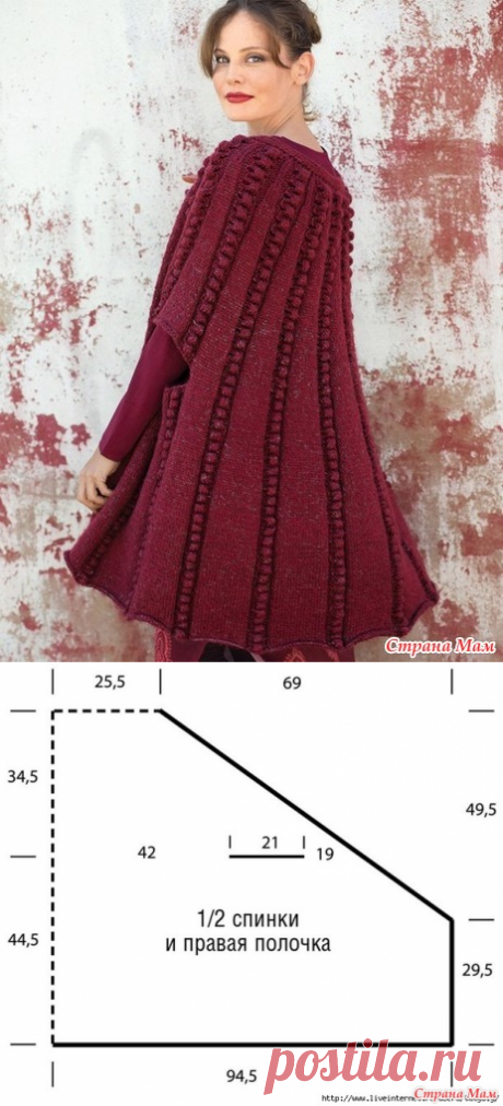 """Charming cape with a pattern from \""""шишечек\"""". Spokes. - KNITTED FASHION + FOR NOT MODEL LADIES - the Country of Mothers"""