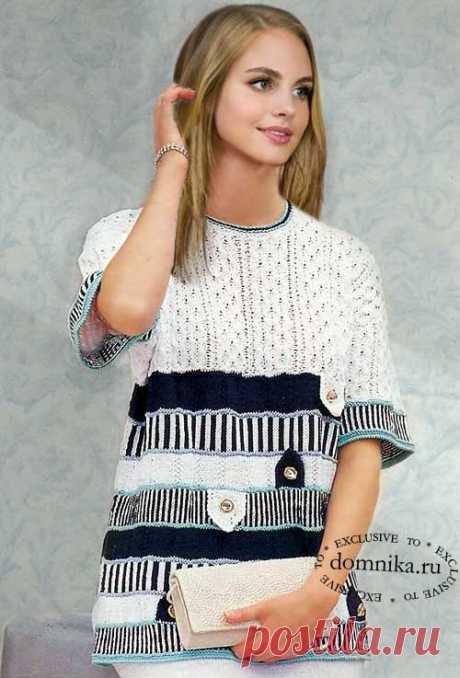 Стильный джемпер Шанель - вязание спицами для женщин пуловера