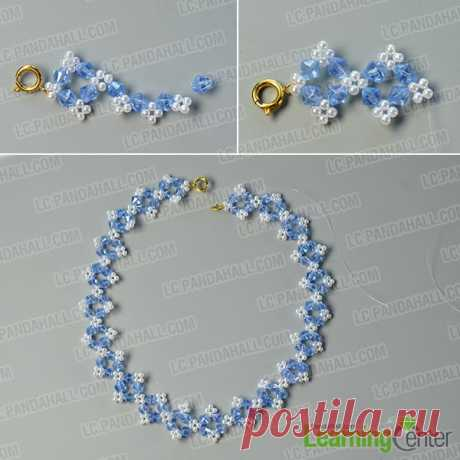 Pandahall Tutorial on How to Make Flower Glass Beads Necklace with Pearl Beads- Pandahall.com