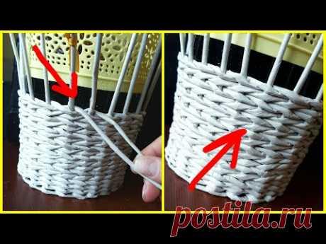 Плетение прямой и обратной веревочкой в 2 трубочки (плавный незаметный переход)