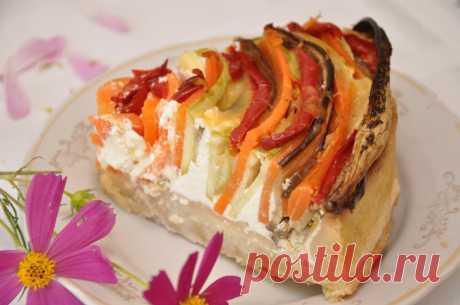 Радуга - овощной пирог с творогом