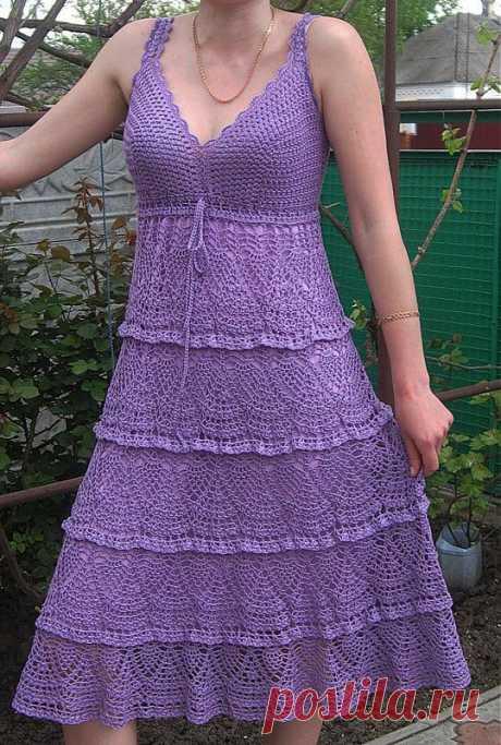 Платье из Перле от Мадам Трикот и сарафанчик с ярусами со схемами.