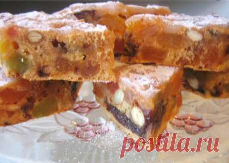 Постный праздничный пирог с сухофруктами и орехами