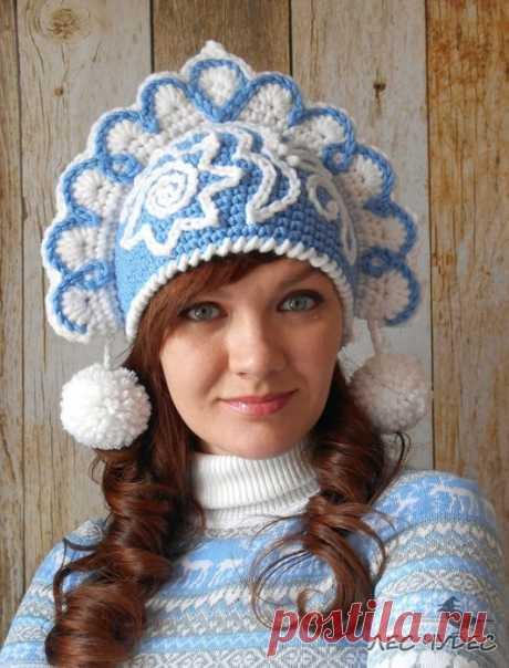 "KOKOSHNIK of \""SNOW MAIDEN\"" (Knitting by a hook)   Inspiration of the Needlewoman Magazine"