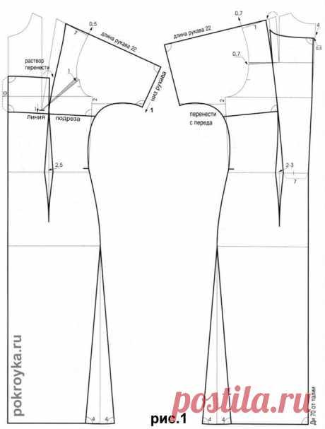 Выкройка платья с короткими цельнокроеными рукавами | pokroyka.ru-уроки кроя и шитья