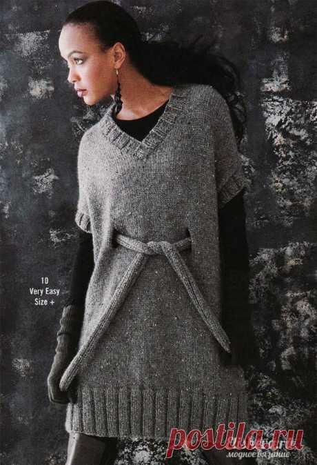 Оригинальная туника серого цвета с поясом вязаная спицами | Блог elisheva.ru