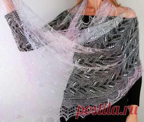 Платок Пуховый платок ручной работы палантин ажурный, (сиреневый), 200 х 60