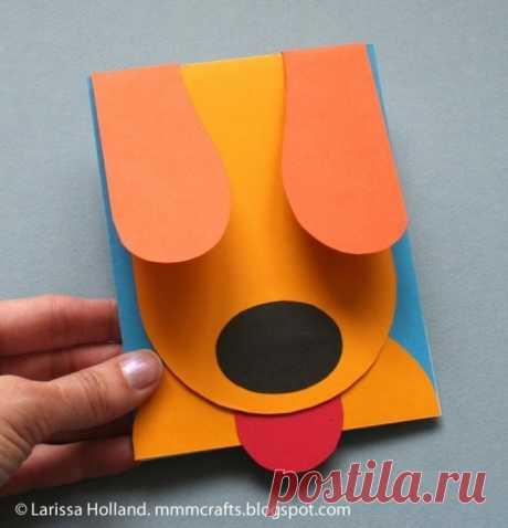 Подвижная открытка-собачка из бумаги — Поделки с детьми