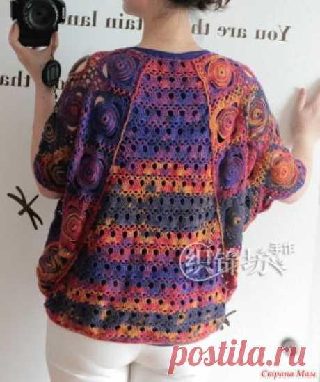 . Летнее ажурное кимоно крючком Свободный пуловер-кимоно в различных вариантах исполнения https://www.liveinternet.ru/