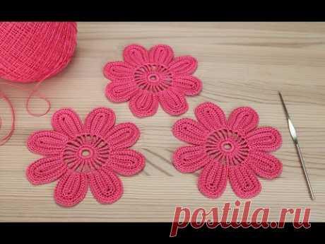 Вязание простого ЦВЕТКА для ирландского кружева Lesson crochet flowers