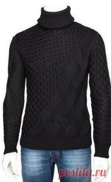 """Мужской свитер Модный свитер для мужчин связан спицами. Свитер имеет большой воротник-стойку, связанный резинкой. Свитер связан с применением нескольких узоров, самый простой из них - """"шахматный""""."""