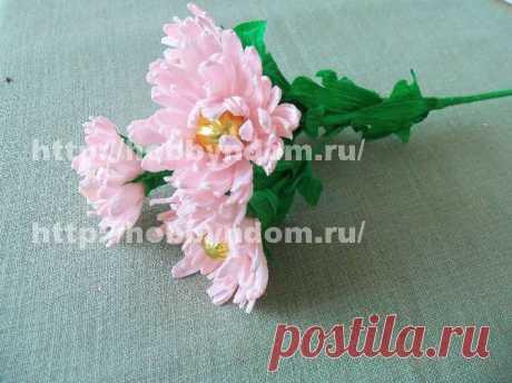 МК. Кустовая хризантема для букета из конфет ХОББИн ДОМ