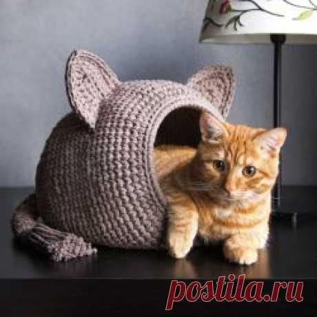 «Вязаный домик для кота» Как связать забавный домик для кота из пряжи ARACHNA.