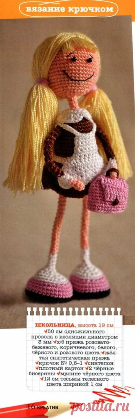 """вязаная кукла """"школьница"""" крючком"""