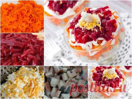 Селёдочный салат Красивый, слоеный салат в порционных салатниках. Ингредиенты: филе одной соленой сельди, 1 вареная или запеченная свёкла, 2 вареных моркови, 3 варёных куриных яйца, майонез (будет гораздо вкуснее, если использовать домашний майонез на перепелиных яйцах), молотый перец. Приготовление: 1. Вареные овощи и яйца натереть на крупной терке по отдельности. 2. Рыбное филе порезать кубиком. 3. Выложить салат слоями (не обязательно, но так красивее), желательно в сте...