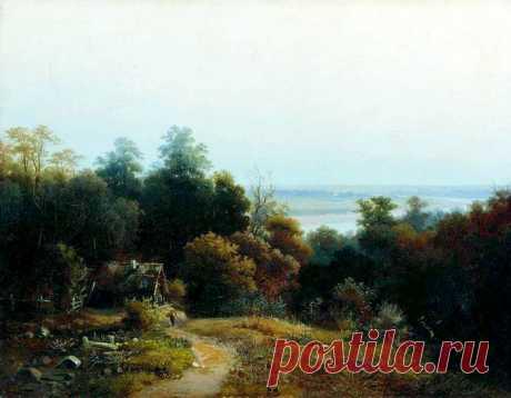 РУССКИЙ ПЕЙЗАЖ. ХУДОЖНИКИ XIX ВЕКА    Лев Каменев (1833 – 1886) «Пейзаж с избушкой»   Пейзаж, как самостоятельный жанр живописи, утвердился в России примерно в середине XVIII века. А до этого периода пейзаж был фоном для изображения ик…