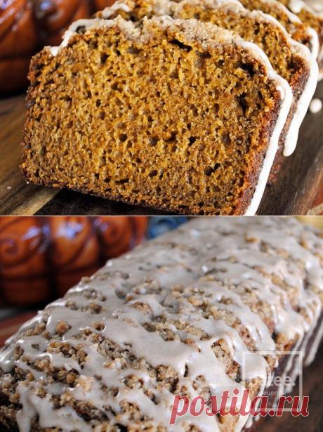 El pan de calabazas con el glaseado - la receta con las fotografías - Patee. Las recetas