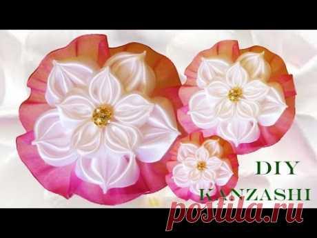 flores blancas pétalos copos de nieve- DIY Kanzashi flowers in satin ribbons