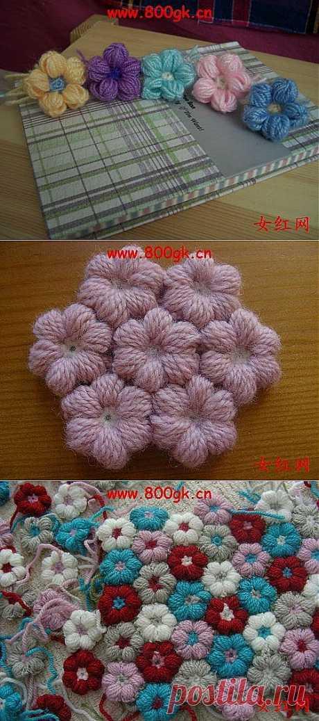 Цветочки крючком на карандашах, для вязания пледов, покрывал, подушек и сидушек.