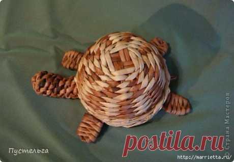 Плетение ЧЕРЕПАШКИ из газетных трубочек
