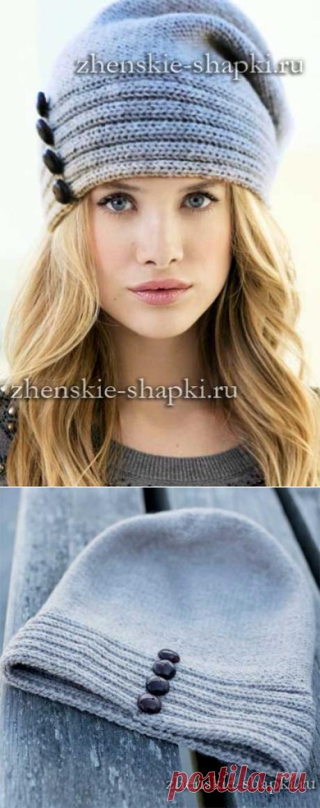 Модная молодежная шапка - описание вязания спицами для женщин
